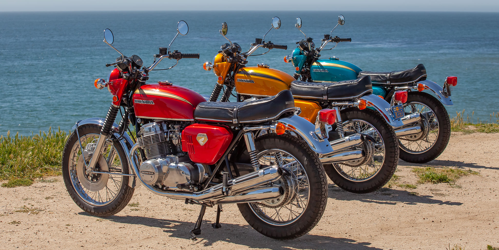 The three 1969 CB750s that I brought to the Quail in 2019
