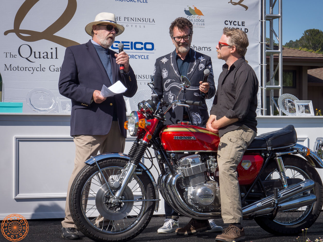 Receiving the Best of Show Award at teh 2019 Quail Motorcycle Gathering